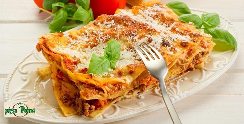 Lasagne - dvije porcije Bolognese ili Poma u Pizzeriji Poma