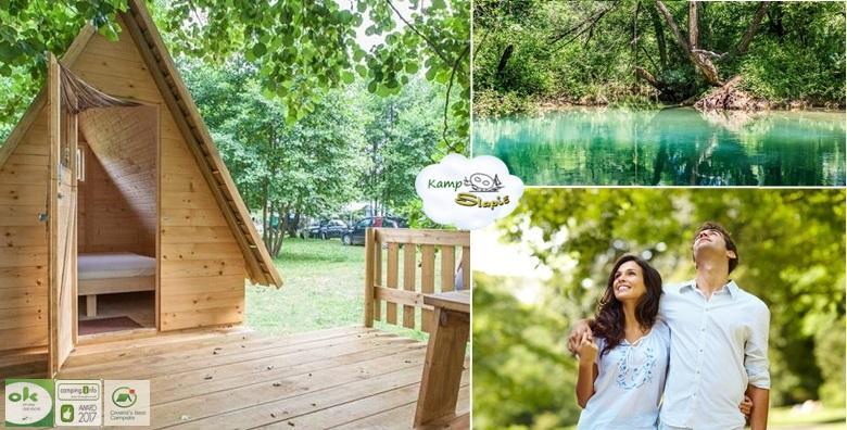 [KAMP SLAPIĆ****] Uživajte u kampu kojeg su gosti proglasili najboljim u Hrvatskoj!4 dana za dvoje u drvenom šatoru i 2h najma čamca za 899 kn!