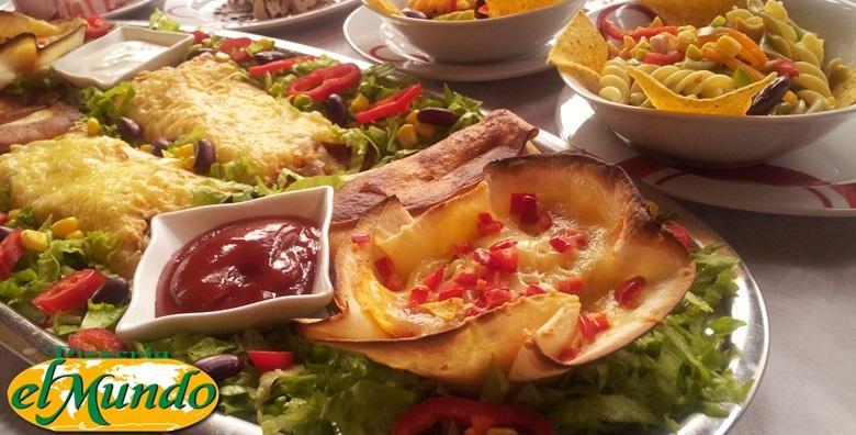 Slasne punjene tortilje, umaci, asteca salata i semifreddo