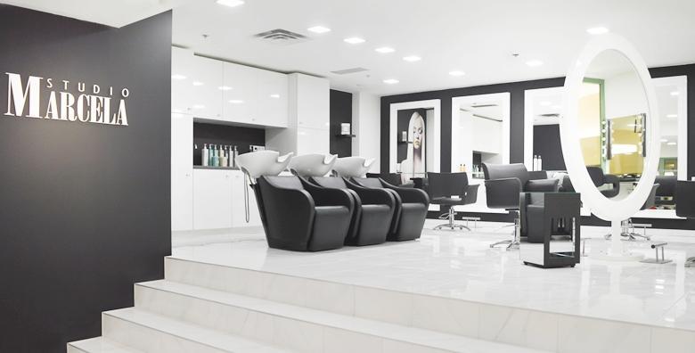 Luksuzni studio Marcela u centru grada!Bojanje ili preljev uz njegu arganom, šišanje i fen frizuru za 239 kn!