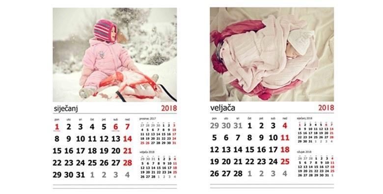 Zidni kalendar s vašim fotografijama - pripremite božićni poklon na vrijeme za 79 kn!