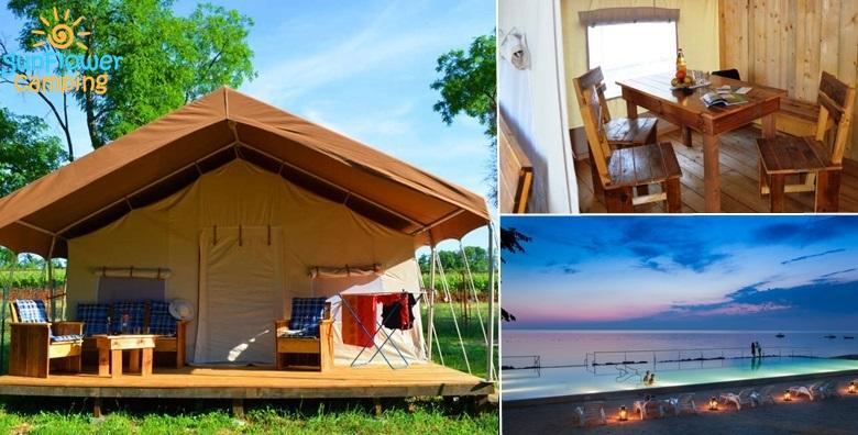 [GLAMPING] Luksuzno kampiranje u Novigradu za 5 osoba - 2 dana najma potpuno opremljenog šatora u okrilju šume tik do mora od 337 kn!