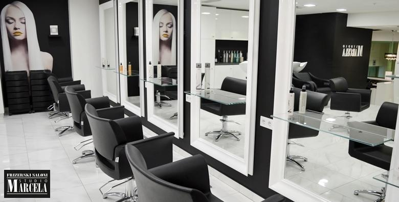 Bojanje ili preljev uz njegu arganom, šišanje i fen frizuru u luksuznom Studiju Marcela u centru grada za 239 kn!