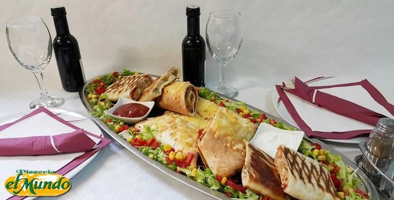 Meksička plata za dvoje - 4 vrste tortilja s blagim i ljutim umakom uz aperitiv, hladno predjelo i desert semifreddo za 185 kn!