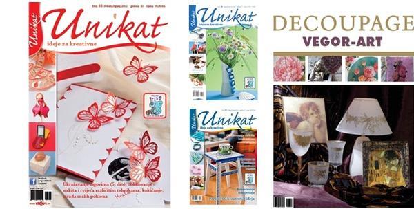 Časopis Unikat, komplet po izboru ili knjiga Decoupage Vegor